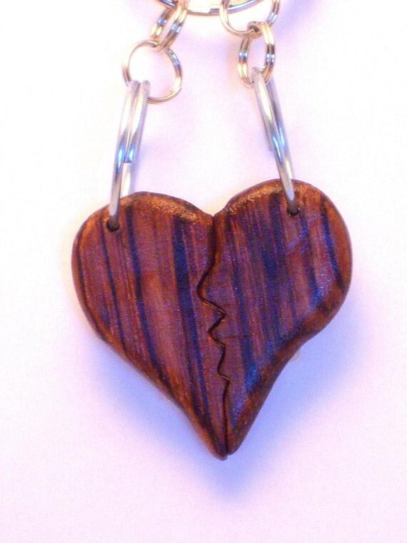 best friends wood heart keychain