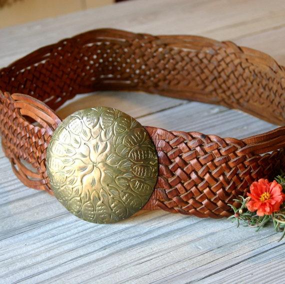 Womens Braided Leather Wide Belt Amp Big Brass Tone Buckle 30