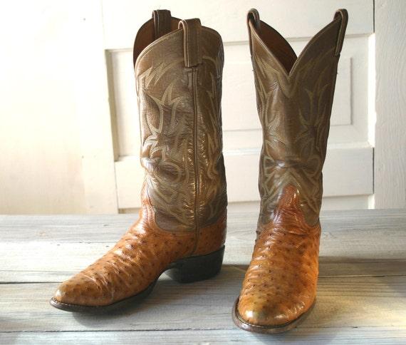 tony lama ostrich skin caramel cowboy boots by