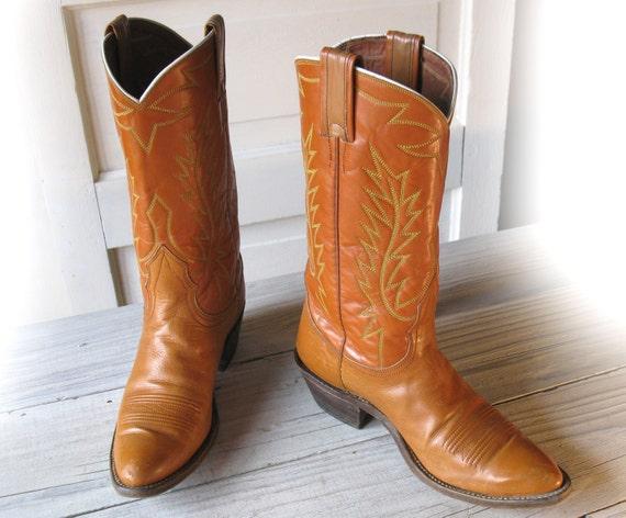 Women's 60's NOCONA Pumpkin Orange All Leather Cowboy Boots size 6 B