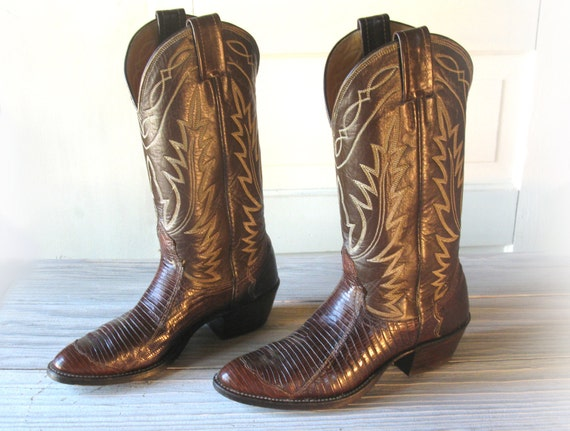Women S Nocona Dark Brown All Leather Amp Lizard Skin Cowboy
