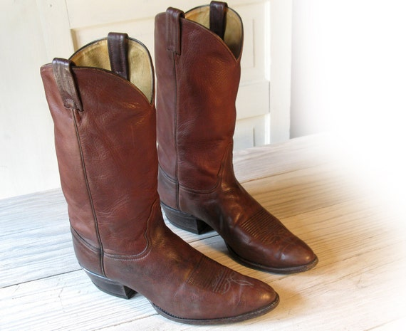 Men's TONY LAMA All Leather Cordovan Brown Cowboy Boots