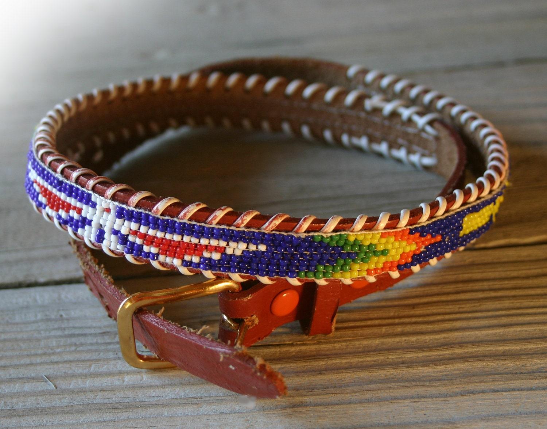 s vintage american beaded belt indian