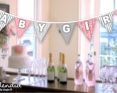 Pink and Grey Damask Baby Shower Pennant / Bunting - digital file