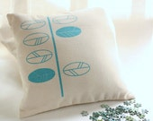 Modern cushion covers - turquoise leaves screen printed - Contemporary design
