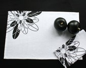 Linen PLACEMAT with black flower screen printed Set of 2