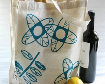 Canvas  TOTE BAG with screenprinted flowers and leaves