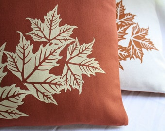 CUSHION COVER in natural or brown with leaves handprinted
