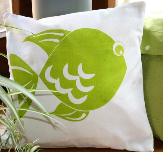 Green CUSHION cover,  with  fish hand printed.