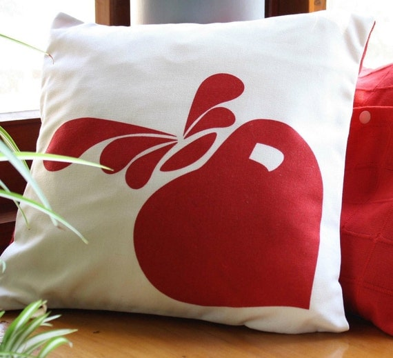 Handmade Modern Pillow Covers : Items similar to Accent pillow - Natural and red CUSHION cover, hand printed design. on Etsy