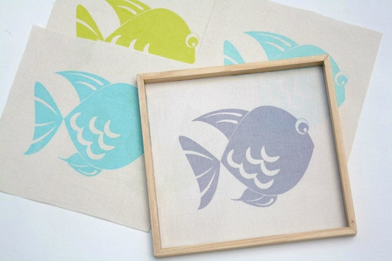 Baby room decor - Screen printed fish, set of 3 - Fish print on fabric for kids