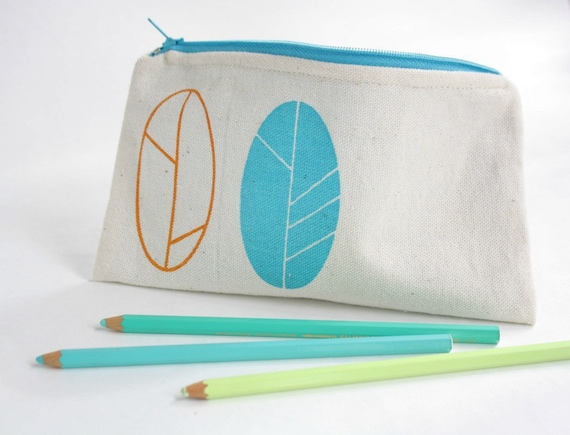 Spring pencil pouch screen printed in orange and turquoise