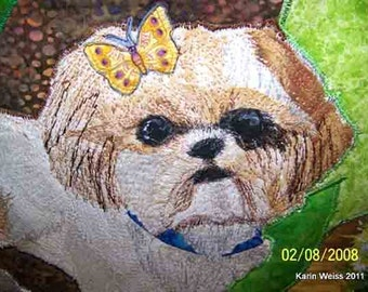 Example of a Custom Made Fiber Constructed, Thread Painted Pet Portrait