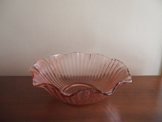 Vintage Pastel Pink Depression Era Large Glass Bowl