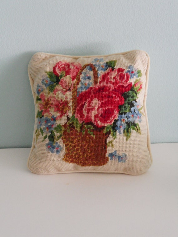 Reserved for Angela--Vintage Needlepoint Pillow