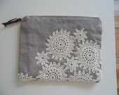 Light blue zippered pouch with vintage doily applique