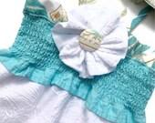 Girls Sundress Halter Smocked Aqua Blue White Hibiscus Embroidered Size 12M