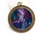 Galaxy necklace - Space Pendant - Hand painted necklace