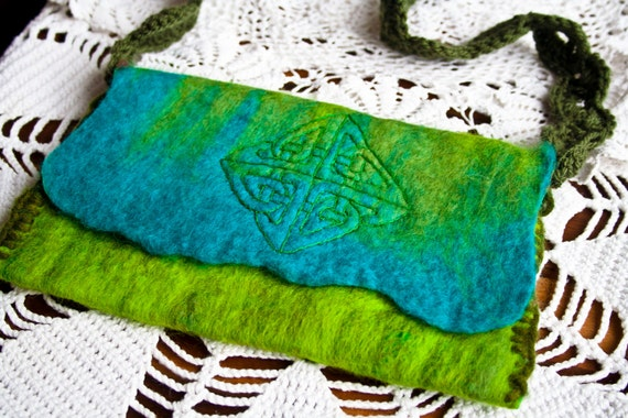 felted bag with celtic design and crochet strap