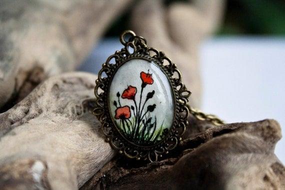 poppy necklace - Hand painted necklace - Original OOAK watercolour
