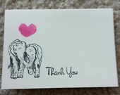 CUSTOM ORDER  Please do not buy unless you are sammyegolan.  Thank You note cards with Elephants in Love: Set of 65