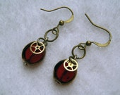 Steampunk Earrings - Dangle, Watch Gears, Glass Bead, Bronze, Red