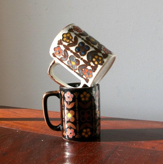 Vintage 60s Black and Cream Floral Ceramic Mugs