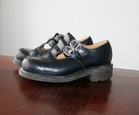 Vintage 80s Dr. Marten Black T Strap Mary Jane Shoes Sz 7 / 7.5