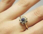 RESERVED FOR CUSTOMER- Vintage 18kt Gold 1950's Blue Sapphire, Diamond Ornate Flower Ring