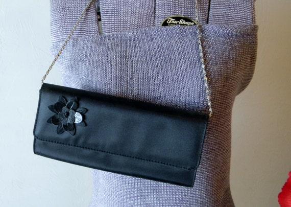Vintage Black Hand Bag, Purse, Formal Purse, Evening Purse, Sleek Black Purse, Cocktail Purse