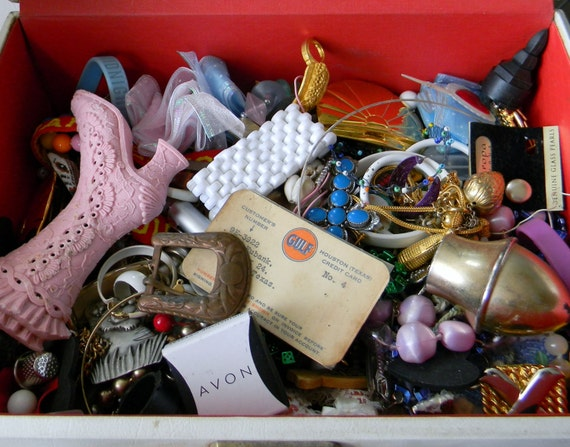 Large Lot of Broken Jewelry, Mismatched Earrings, Pins, Brooches, Crafting Supplies, Bundle of Junk, Destash, Buttons, Belt Buckles