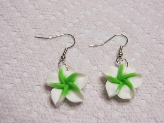 Hawaiian White Plumeria Frangipani Polymer Clay Dangle Earrings with a Bright Lime Green Center.
