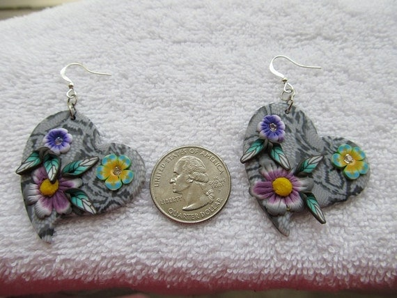 Lightweight Gray and Black Snakeskin Print Polymer Clay Dangle Earrings with Flowers, Leaves and Rhinestones