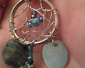 ON  SALE dreamcatcher necklace - Dream catcher - blue dream - indian - teal