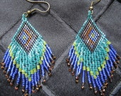 Peacock Blue Beaded Earrings Free Shipping