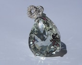 Natural 9.60 Carat Green Amethyst & Diamond Pendant 925 Sterling Silver
