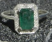 Natural .80 Carat Emerald & Diamond Ring Solid 925 Sterling Silver FREE SHIPPING