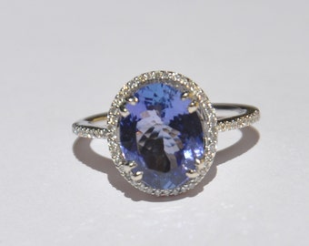 GIA Certified Natural Unheated 3.75 CT Tanzanite and Diamond ring 14kt Solid Gold W/ Appraisal
