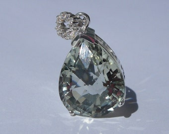 Natural 9.60 Carat Green Amethyst & Diamond Pendant 925 Sterling Silver