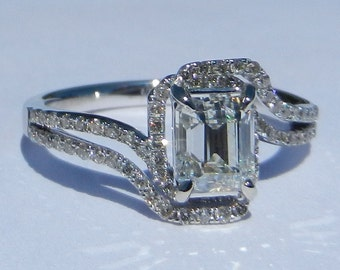 GIA Certified 1.26 Carat Diamond Engagement Ring 14kt Solid Gold W/ GIA Laser Inscription