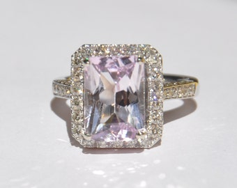 Natural Untreated 5.20 CT Kunzite & Diamond Ring 14kt Gold W/ Appraisal