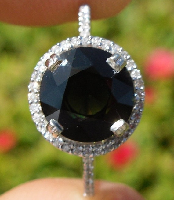 Natural Untreated 2.62 CT Green Tourmaline and Diamond Ring 14KT Gold W/ Appraisal