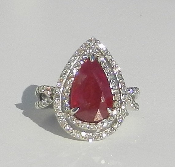 GIA Certified Natural 6.02 Carat Ruby & Diamond Ring 14KT Gold W/ Appraisal