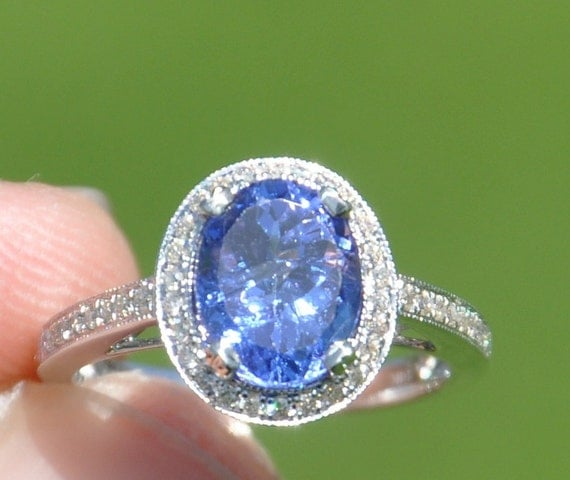 GIA Certified Natural Unheated 2.93 CT Tanzanite and Diamond ring 14kt Solid Gold W/ Appraisal