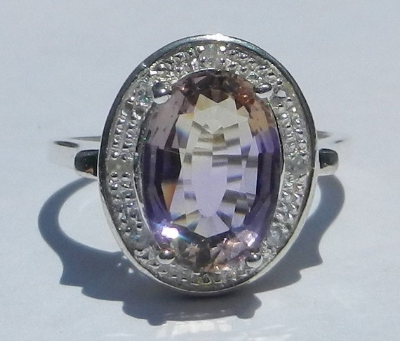 Natural 3.75 Carat Ametrine & White Sapphire Ring  set in Solid 925 Sterling Silver