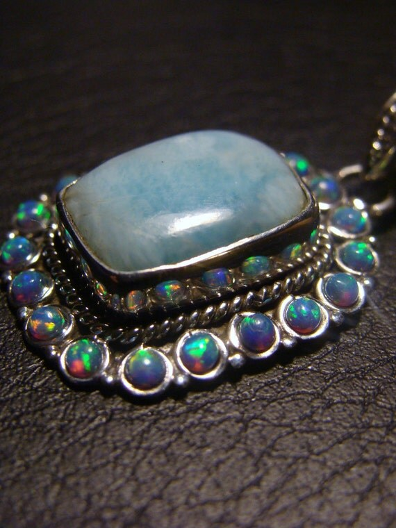 RESERVED FOR MARIABRAVO Genuine Larimar and Fire Opal Pure Sterling Silver Pendant