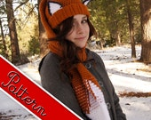 Crocheted Fox Scarf - Hat (Scat) Pattern PDF
