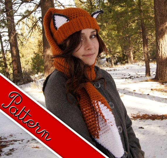 Crocheted Fox Scarf - Hat (Scat) Pattern PDF