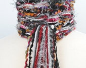 "Hand Knit Scarf, Skinny, Extra Long, ""Bordeaux"" - Burgundy, Silver, Black, White."