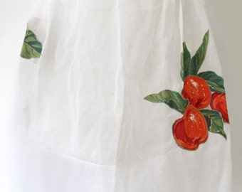 Vintage Arline Chicago White Apron with Apple Appliques